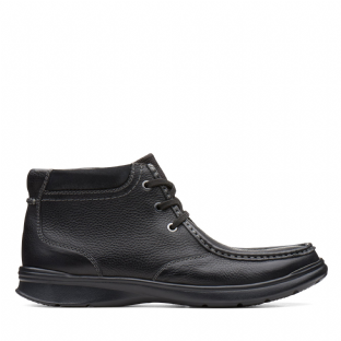 Clarks Mens Cotrell Top Black Oily Leather Boots